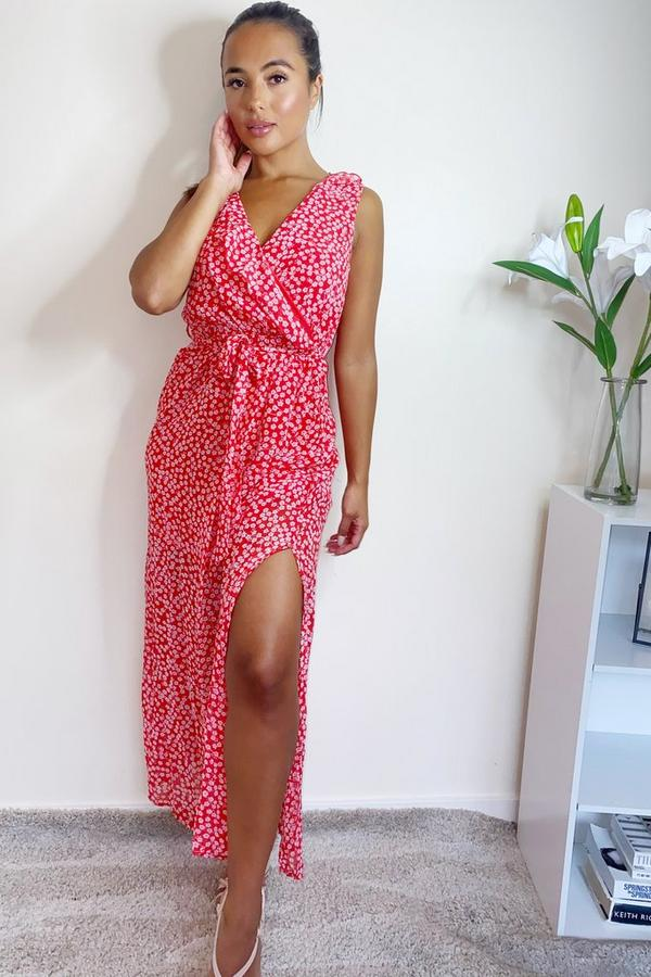 Petite Red Floral Wrap Maxi Dress