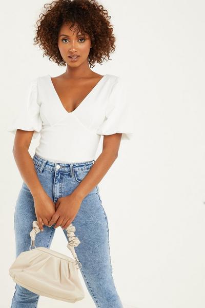 Cream Puff Sleeves Bodysuit