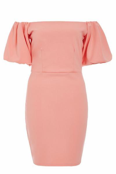 Coral Bardot Puff Sleeve Dress