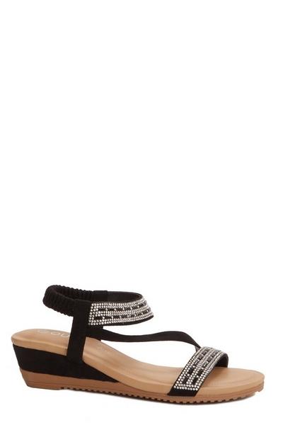 Black Diamante Wedge Sandals