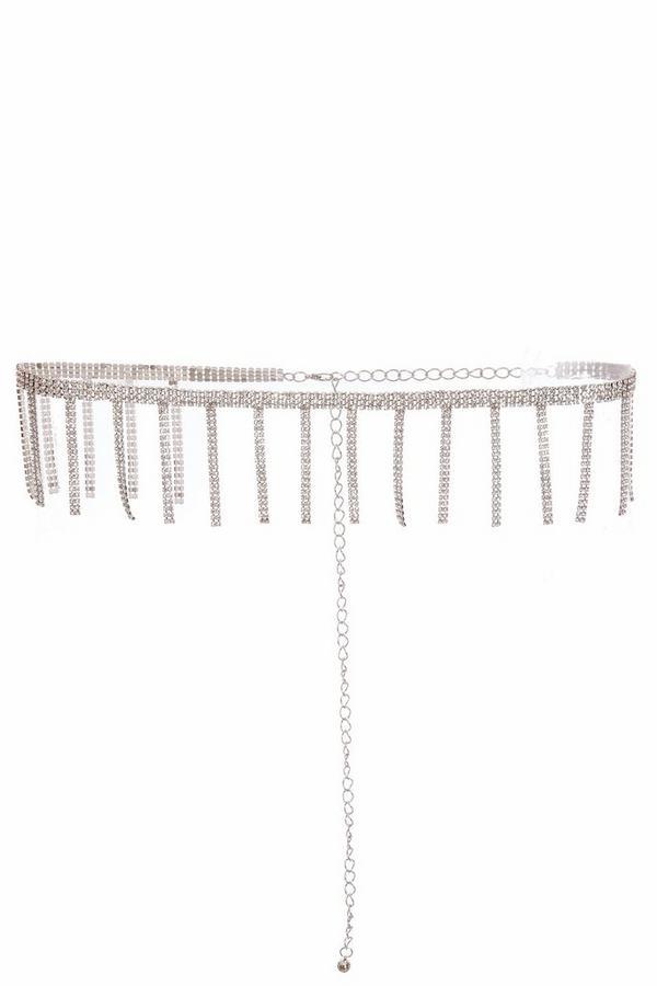 Silver Diamante Tassel Belt
