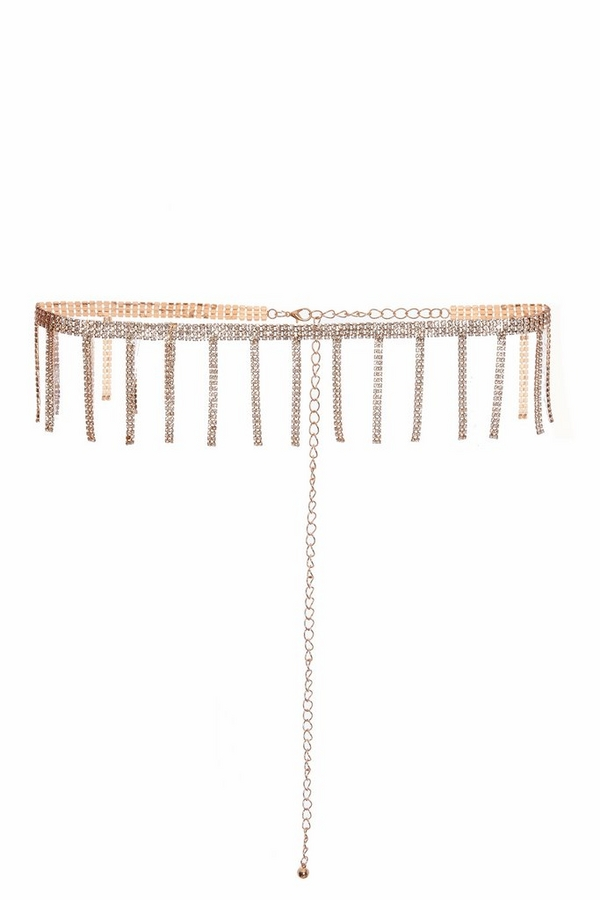 Gold Diamante Tassel Belt
