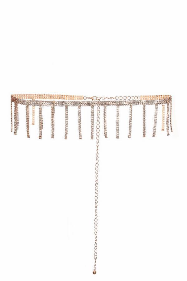 Gold Diamante Tassel Belt