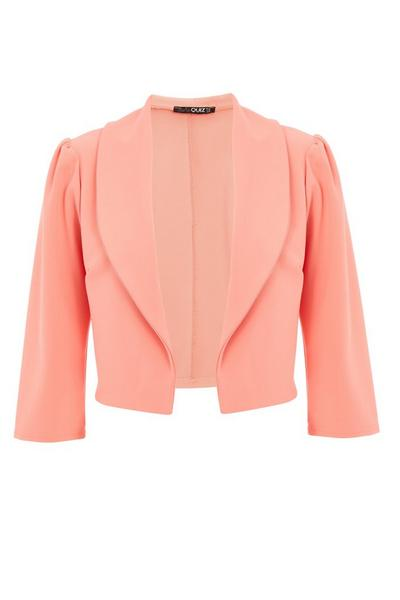 Coral Puff Sleeve Cropped Jacket