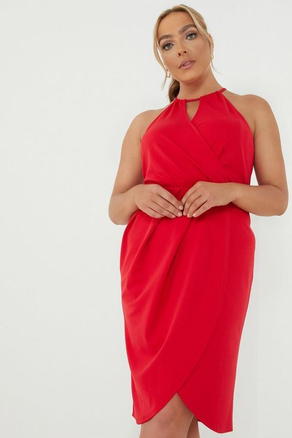 Curve Red Wrap Midi Dress