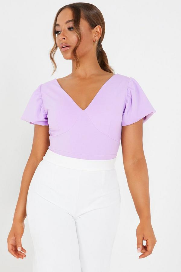 Petite Lilac Puff Sleeve Bodysuit