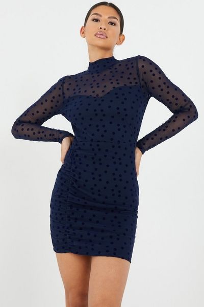 Navy Mesh Polka Dot Bodycon Dress