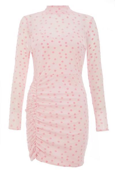 Pink Mesh Polka Dot Bodycon Dress