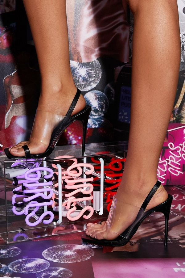 Black Clear Strap Heeled Sandals
