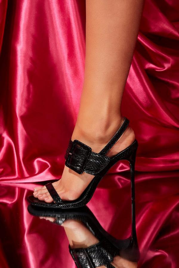 Black Crocodile Effect Heeled Sandals