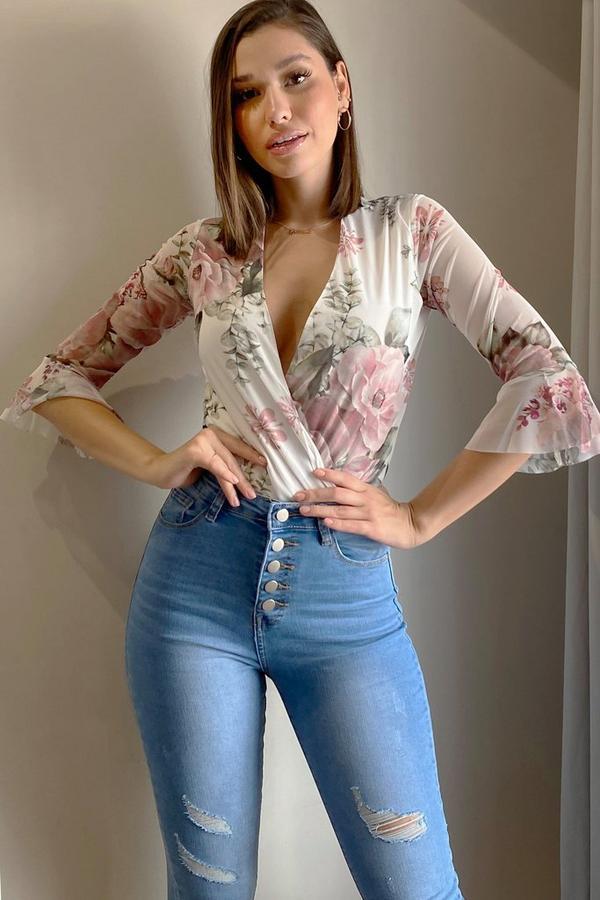 Cream Floral Mesh Wrap Bodysuit