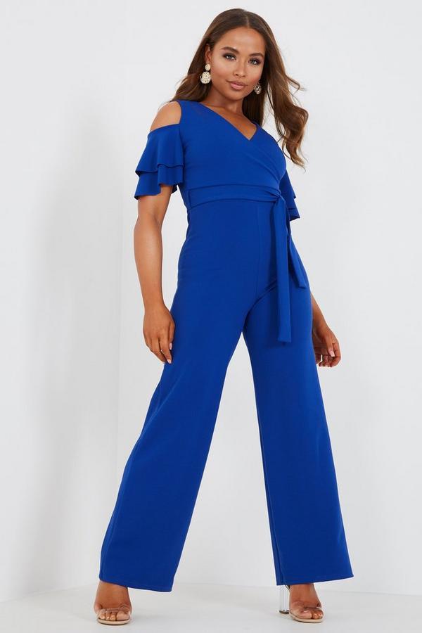 Petite Royal Blue Cold Shoulder Jumpsuit
