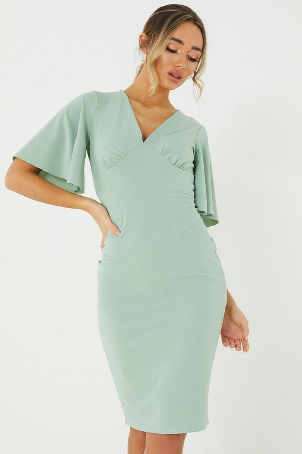 Sage Angel Sleeve Midi Dress
