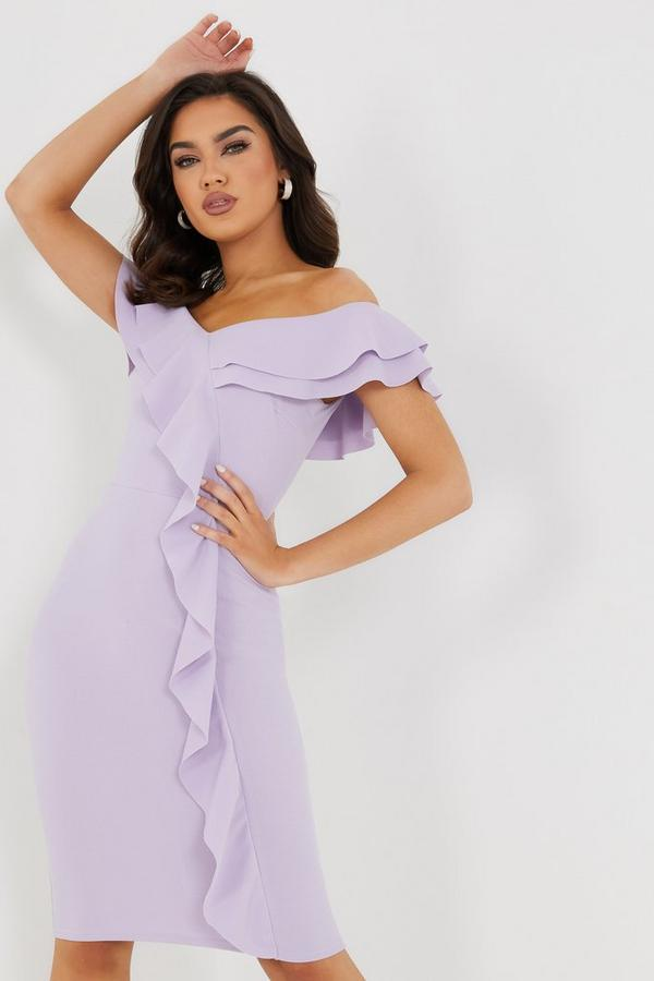 Lilac Bardot Frill Midi Dress