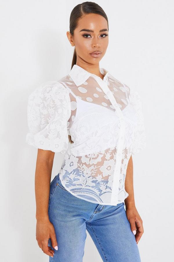 Cream Embroidered Organza Puff Sleeve Blouse