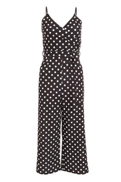 Black Polka Dot Culotte Jumpsuit