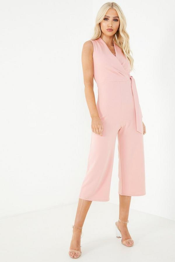 Pink V Neck Culotte Jumpsuit