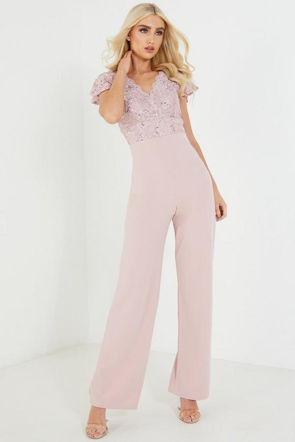 Pink Lace V Neck Palazzo Jumpsuit