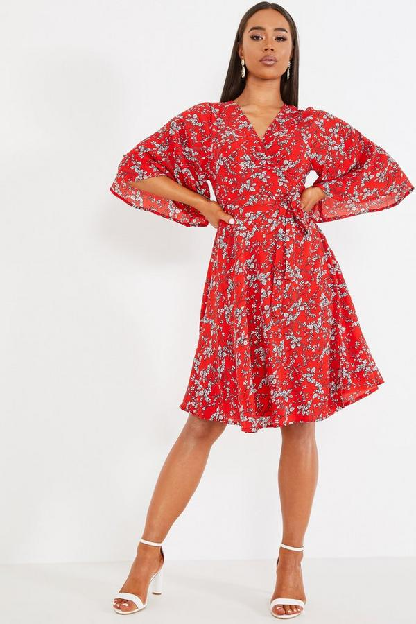 Red Floral Batwing Wrap Dress