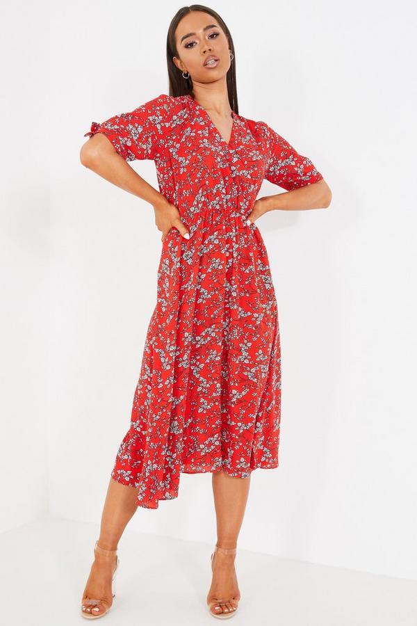 Vestido Rojo Floral
