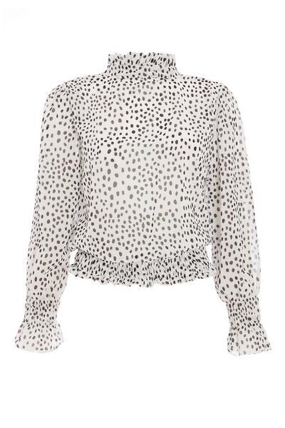 White Dalmatian Print Blouse