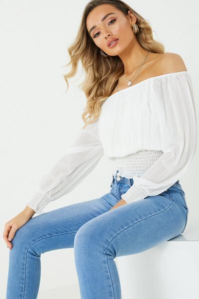 Cream Chiffon Long Sleeves Bardot Top