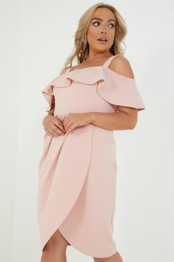 Curve Pink Bardot Wrap Dress
