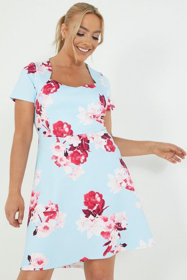 Curve Blue Floral Dip Hem Dress