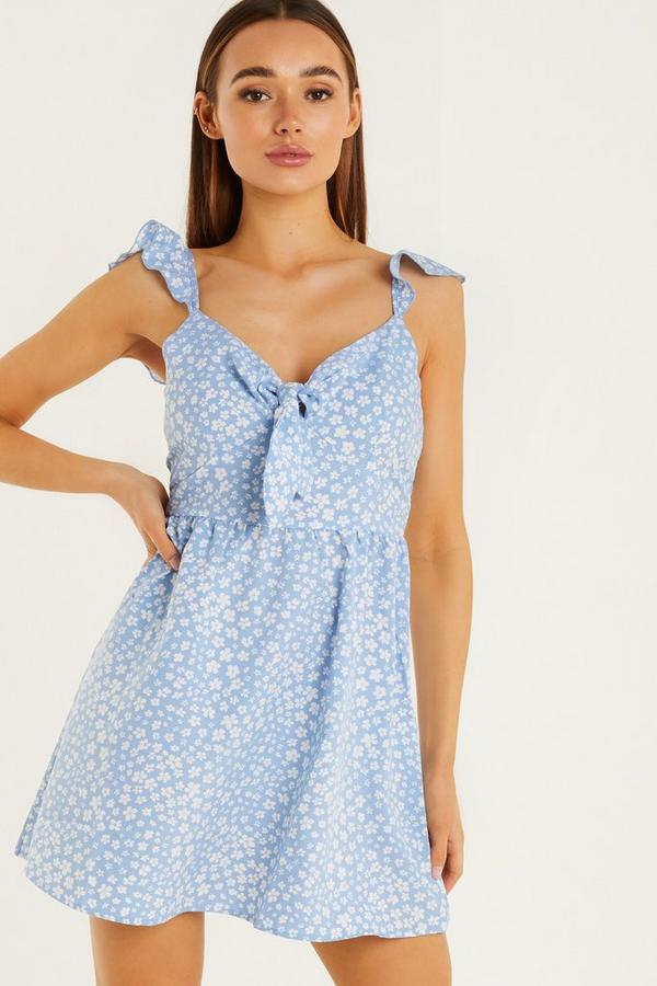Blue & White Floral Ditsy Print Skater Dress