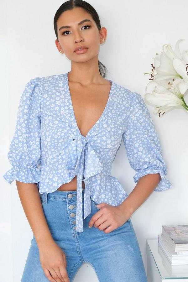 Blue & White Floral Ditsy Print Crop Top