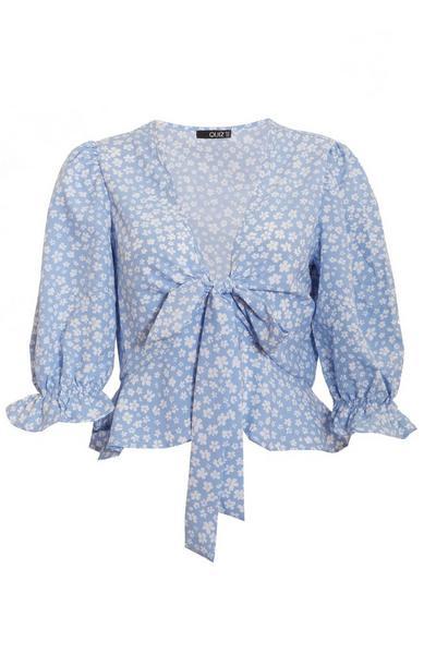 Blue Floral Ditsy Print Crop Top