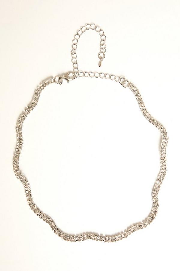 Silver Diamante Wave Choker