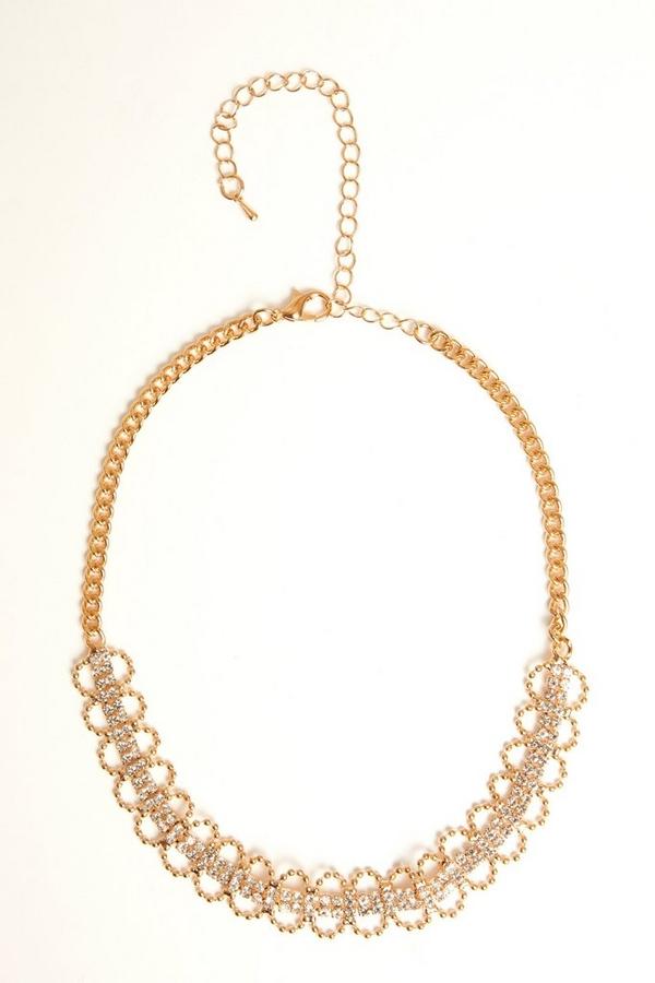 Rose Gold Diamante Loop Choker