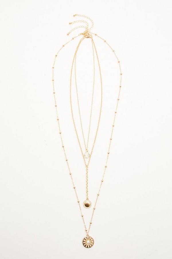 Gold Diamante Circle Layer Necklace