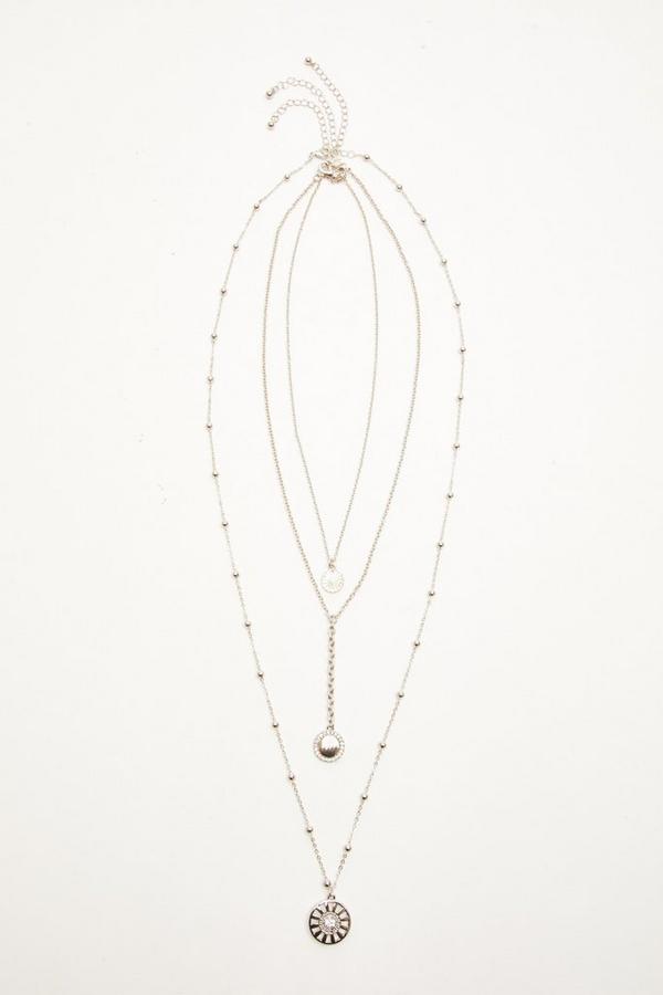 Silver Diamante Circle Layered Necklace