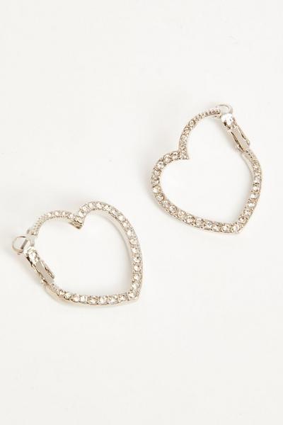 Silver Diamante Heart Hoop Earrings