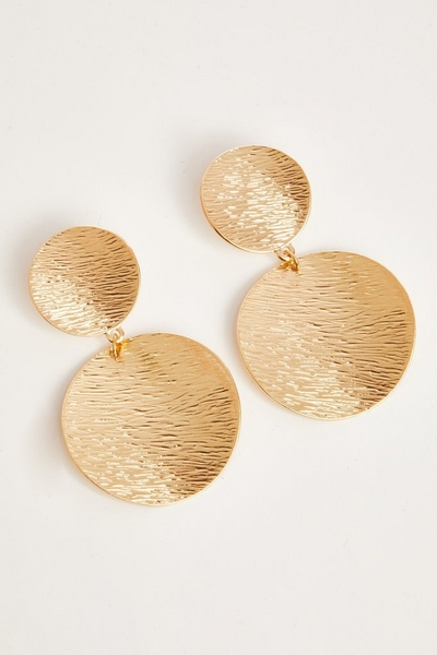 Gold Textured Circle Earrings