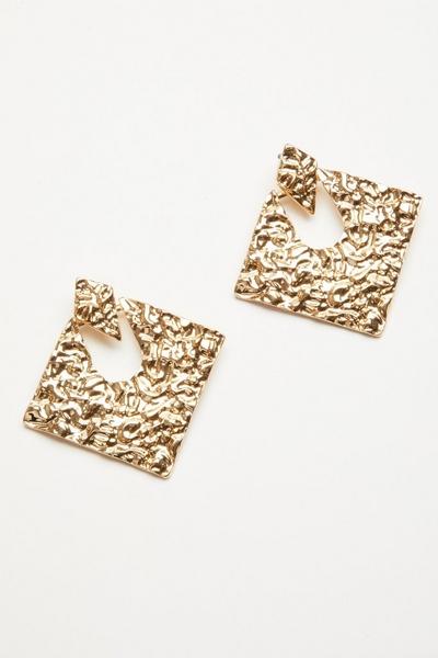 Gold Crushed Diamond Drop Earrings