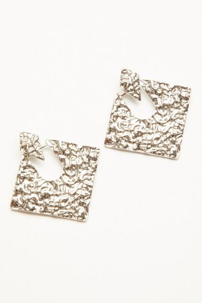 Silver Crushed Diamond Drop Earrings