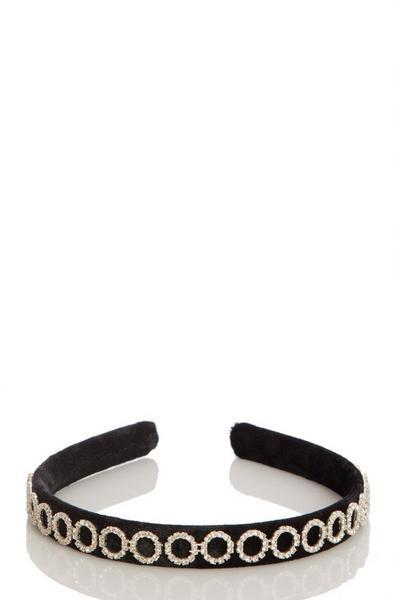 Black Diamante Velvet Headband
