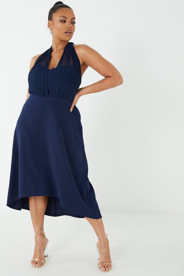 Curve Navy Mesh Halterneck Dress