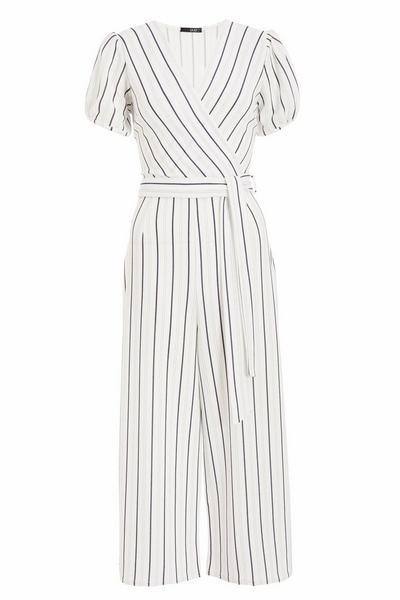 White Striped Culotte Jumpsuit