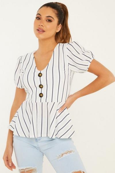 White Stripe Peplum Top