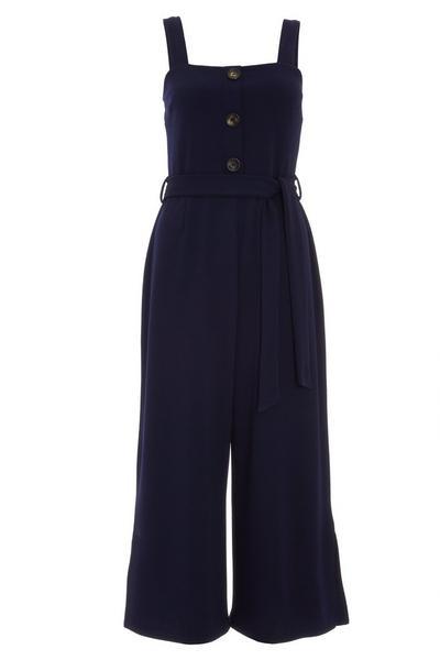 Navy Button Front Culotte Jumpsuit