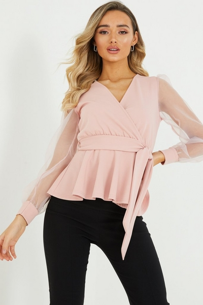 Pink Wrap Puff Sleeve Top