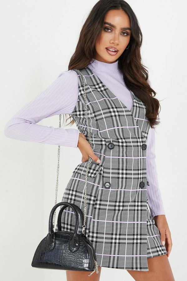 Lilac Check Bodycon Wrap Dress