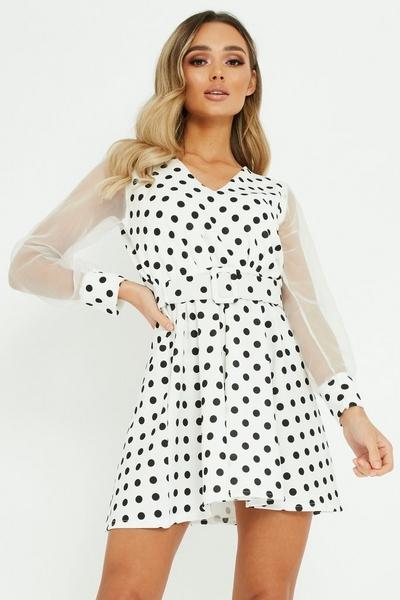 Cream Polka Dot Dress