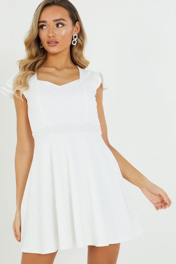 White Glitter Skater Dress