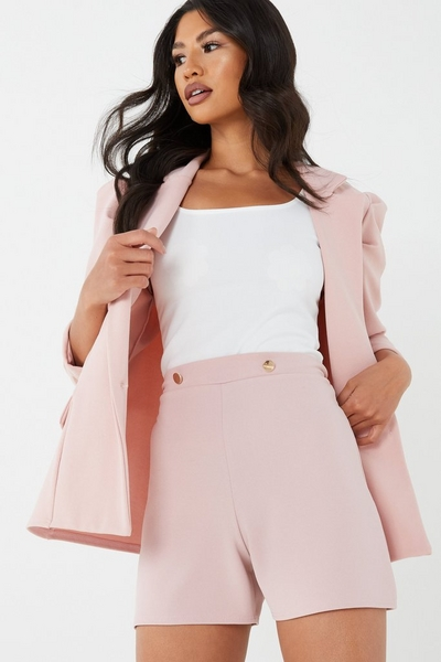 Pink High Waist Button Shorts