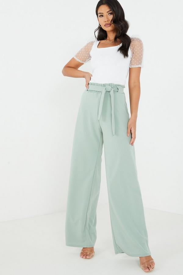 Sage Tie Belt Palazzo Trousers